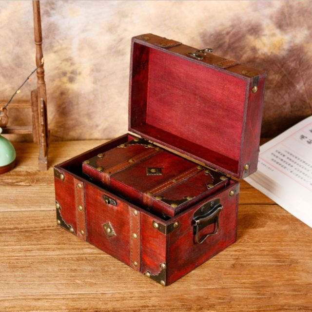 Vintage Wooden Storage Box for Jewelry